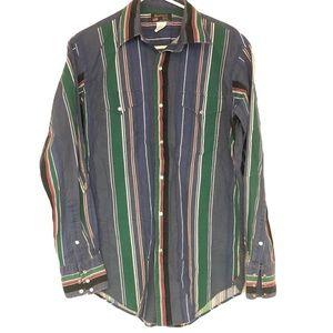 Ruddock Bros sz 15.5/34 Vtg 90s blue snap shirt
